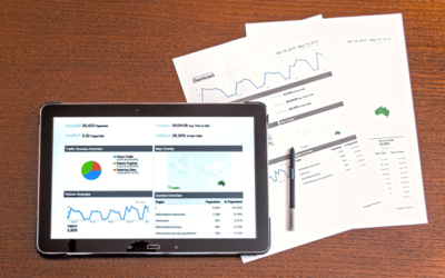 Table displaying marketing analytics dashboard. Printed reports to the side