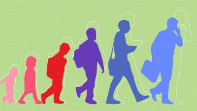 Illustration of a baby boy growing to toddler, to child, to teenager and finally an adult
